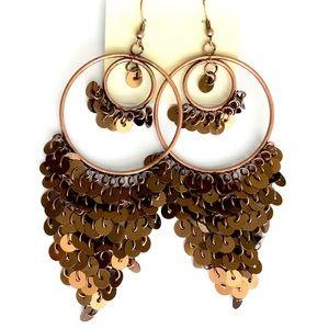 🆕 1928 Bronze Sequin Hoop Chandelier Earrings NWT